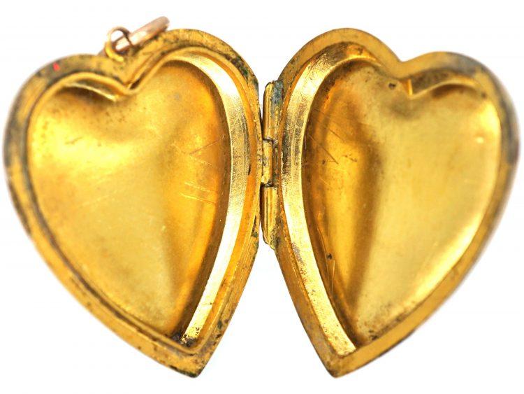 Edwardian 9ct Back & Front Heart Shaped Locket