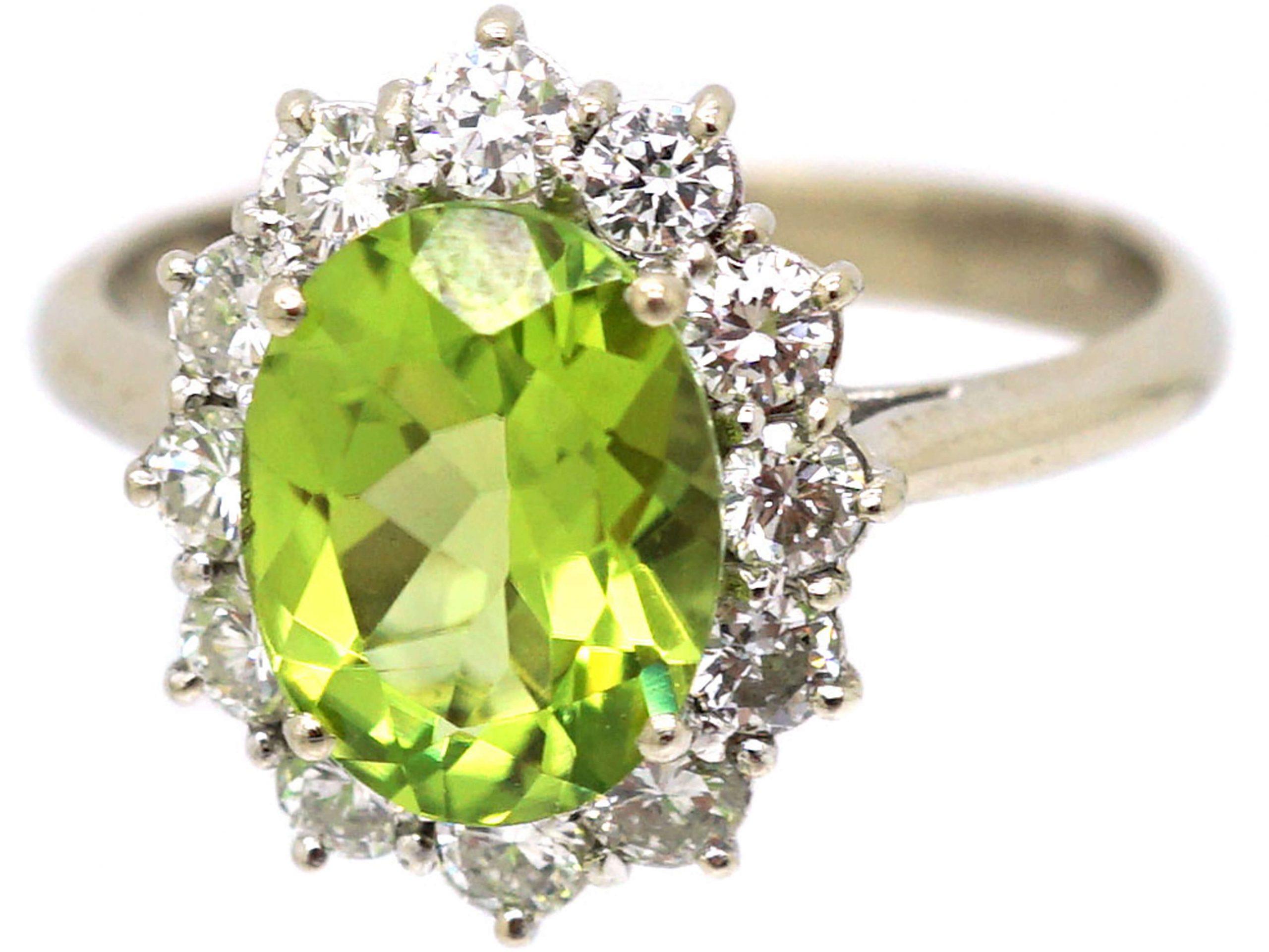 18ct White Gold, Peridot & Diamond Cluster Ring