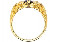 Edwardian 18ct Gold, Sapphire and Diamond Carved Half Hoop Ring