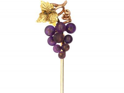 Edwardian 15ct Gold Two Colour Gold Tie Pin of a Bunch of Grapes