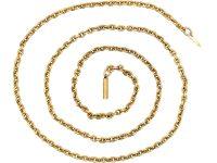 Edwardian 9ct Gold Medium Length Chain with Barrel Clasp