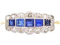 Art Deco 18ct Gold & Platinum, Five Stone Sapphire & Diamond Ring