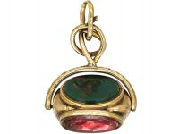 Victorian 9ct Gold Cased Triple Revolving Seal set with Rock Crystal, Bloodstone, & Chalcedony