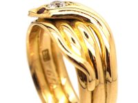 Victorian 18ct Gold Snake Ring with Diamond & Ruby Eyes