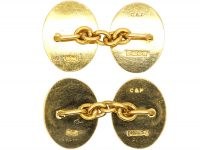 18ct Gold Oval Shaped Cufflinks with Engine Turned Decoration by Cropp & Farr