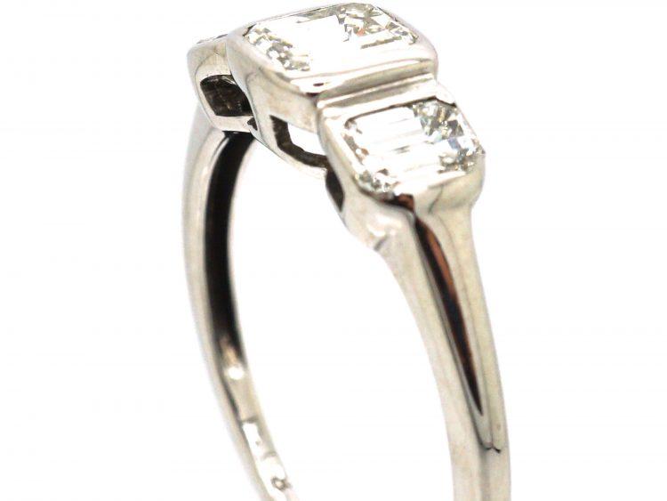 18ct White Gold, Three Stone Baguette Diamond Ring