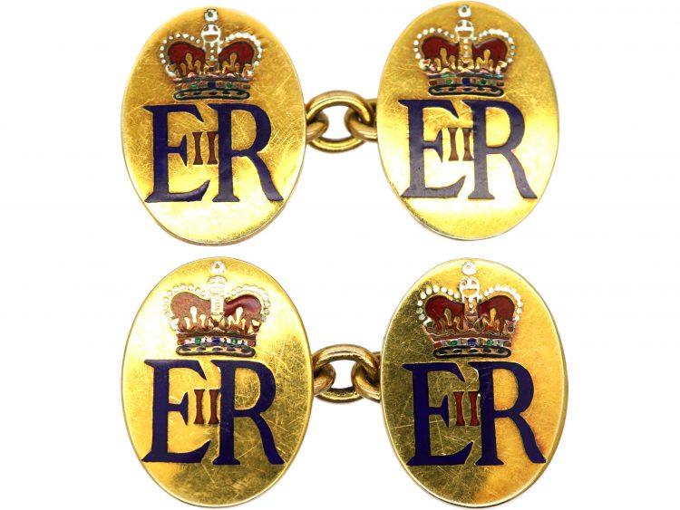 9ct Gold Her Majesty Queen Elizabeth 11 Presentation Cufflinks