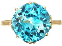 Art Deco 18ct Gold Zircon Solitaire Ring
