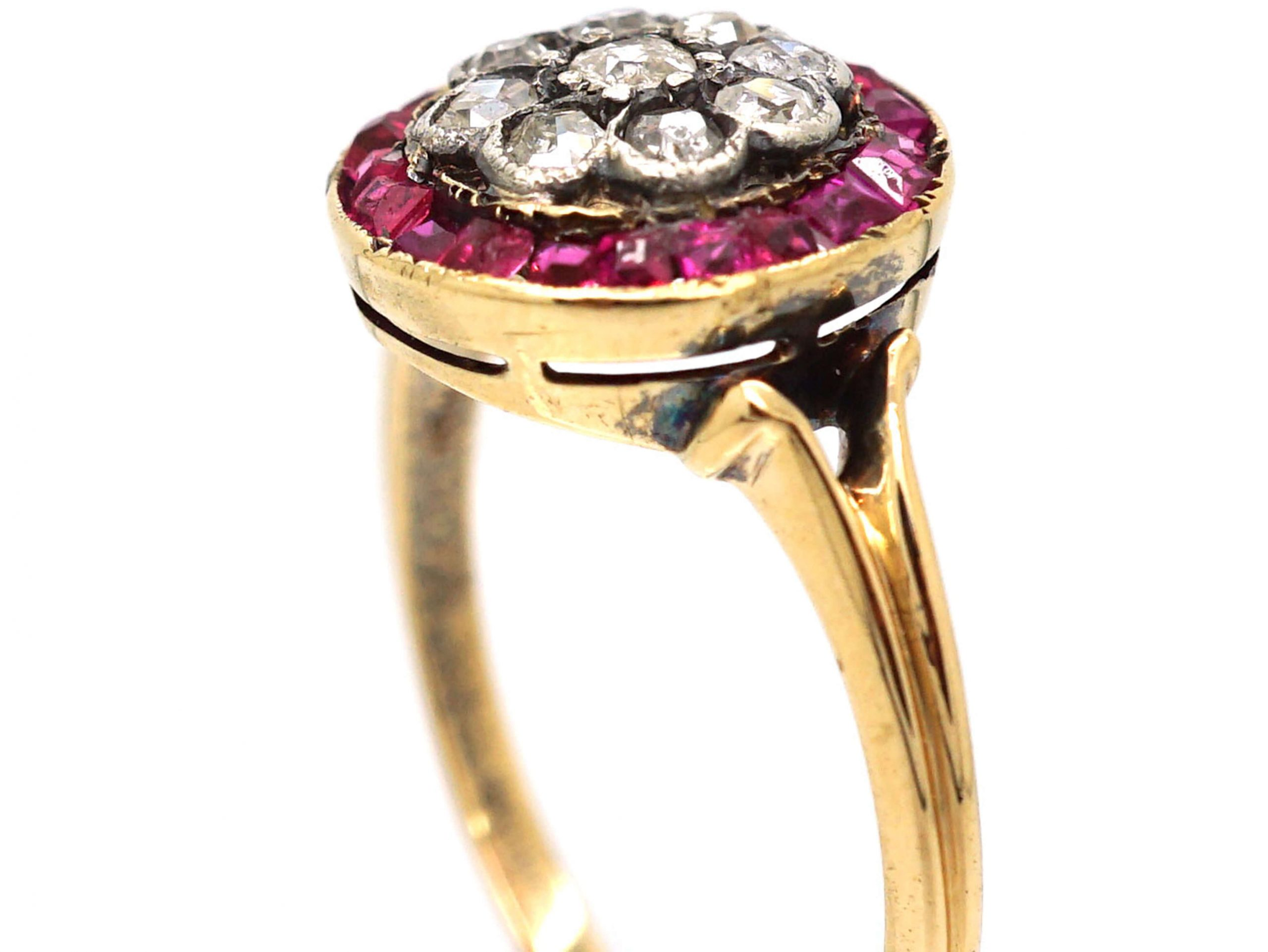 Art Deco 18ct Gold and Platinum, Ruby and Diamond Target Cluster Ring