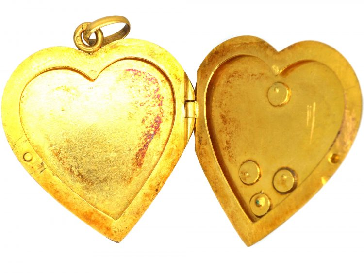 Edwardian 18ct Gold Heart Shaped Locket with Green Garnet & Pearl Detail