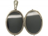 Victorian Silver Oval Locket with Vertical Stripe Detail