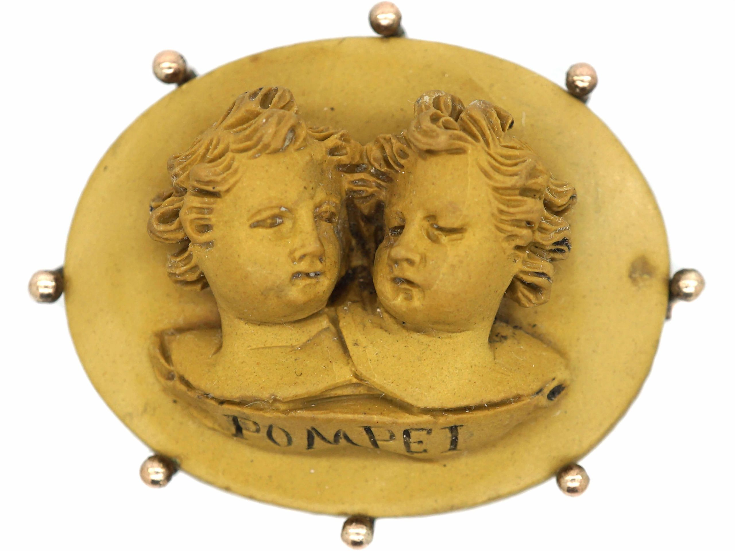 Grand Tour Brooch of Two Children Carved in Lava Stone