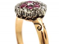 Edwardian 18ct Gold, Ruby and Diamond Cluster Ring