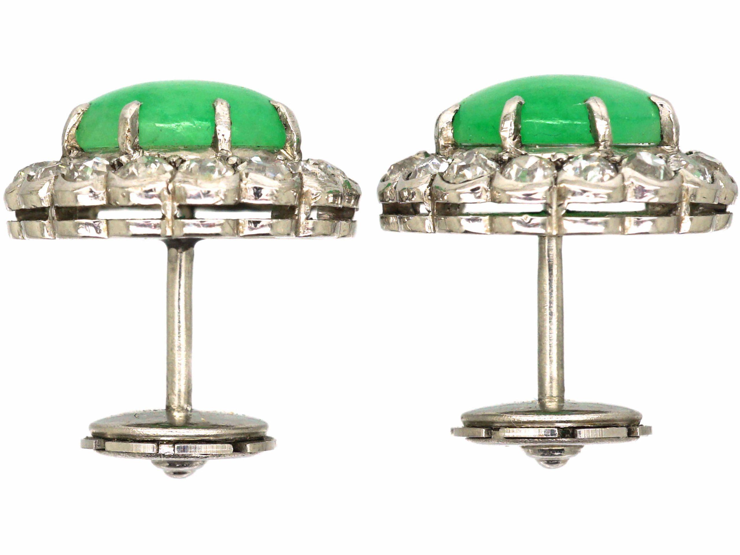 Art Deco 18ct White Gold, Jade & Diamond Cluster Earrings in Original Case