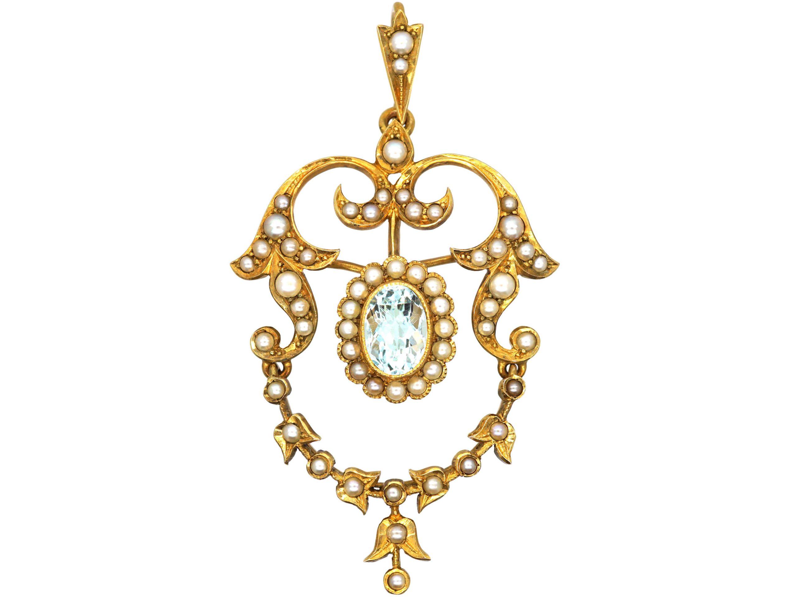 Edwardian 15ct Gold, Aquamarine & Natural Split Pearls Pendant