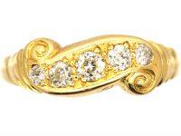 Edwardian 18ct Gold Five Stone Diamond Scroll Design Ring