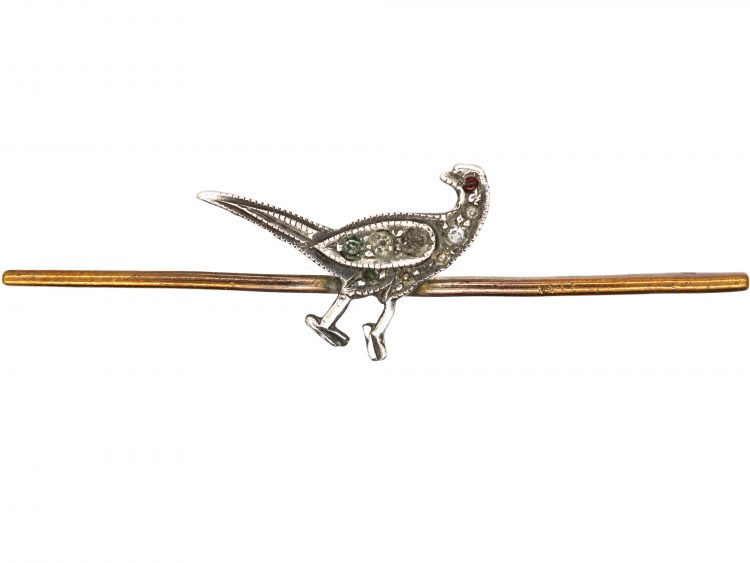 Art Deco Pheasant Brooch set with Paste