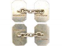 Art Deco 9ct Gold & Silver Rectangular Shaped Cufflinks