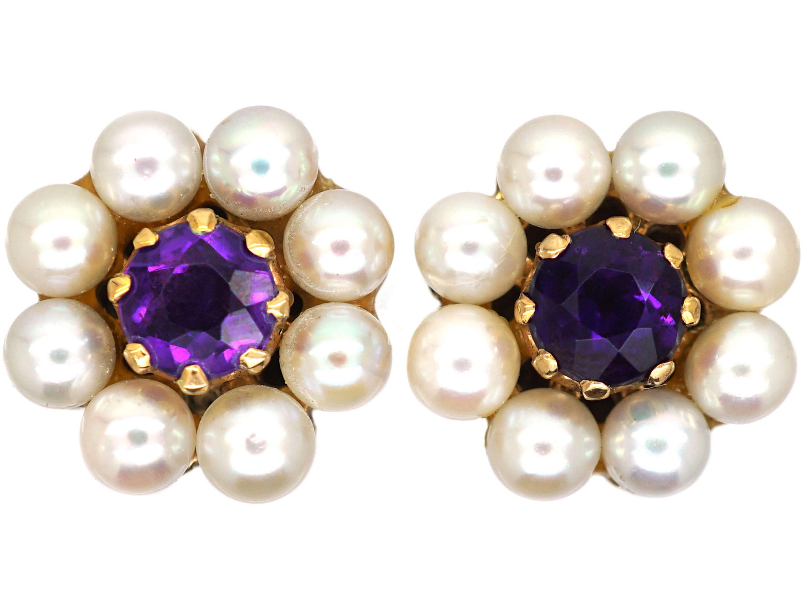 9ct Gold, Pearl & Amethyst Cluster Earrings