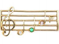 9ct Gold Musical Brooch Spelling Dear