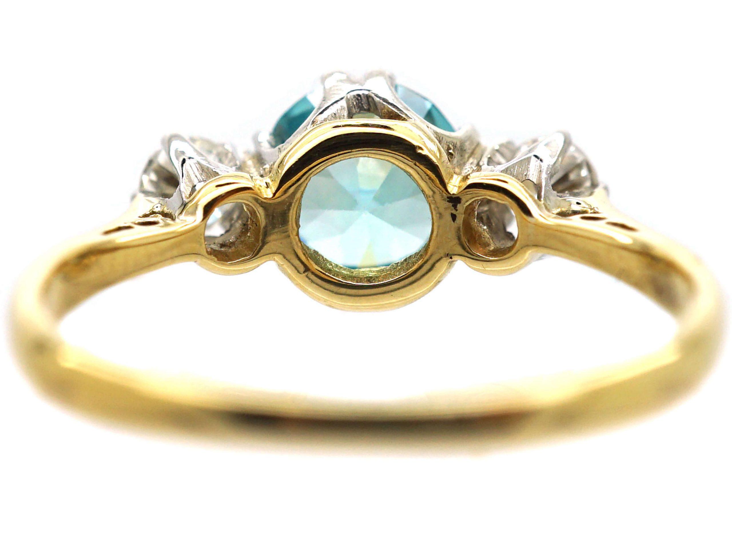 Art Deco 18ct Gold & Platinum, Zircon & Diamond Three Stone Ring
