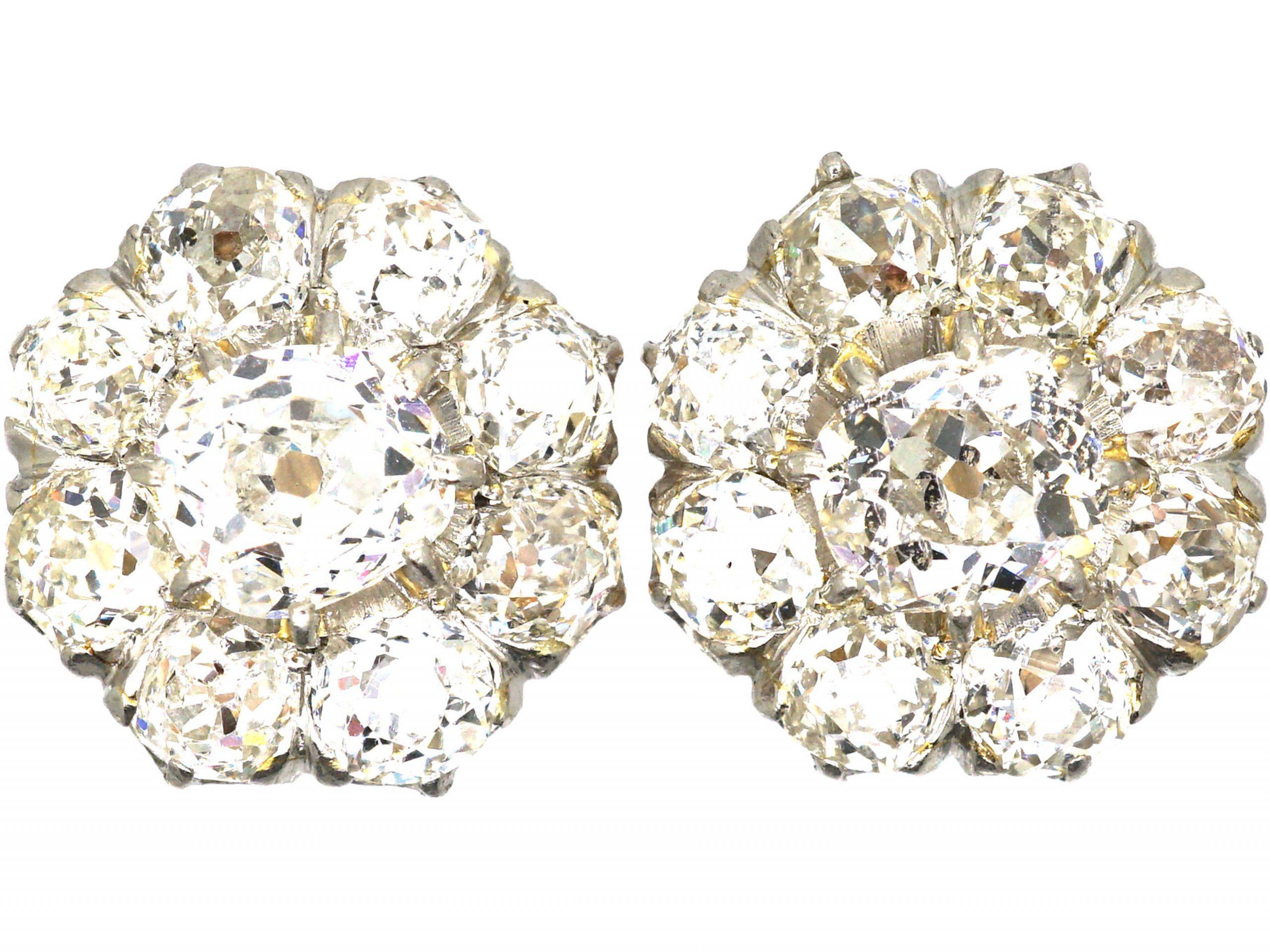French Belle Epoque Diamond Cluster Earrings