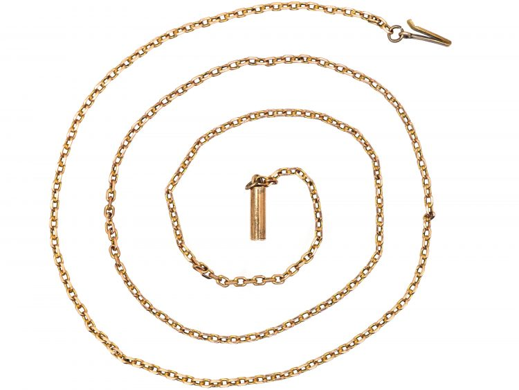 Edwardian 9ct Gold Trace Link Chain with Barrel Clasp