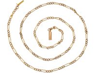 Edwardian 9ct Gold Chain with Alternate Long Links & Trace Links