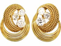 1950's 18ct Gold Clip On Coil Design Earrings set with Three Diamonds