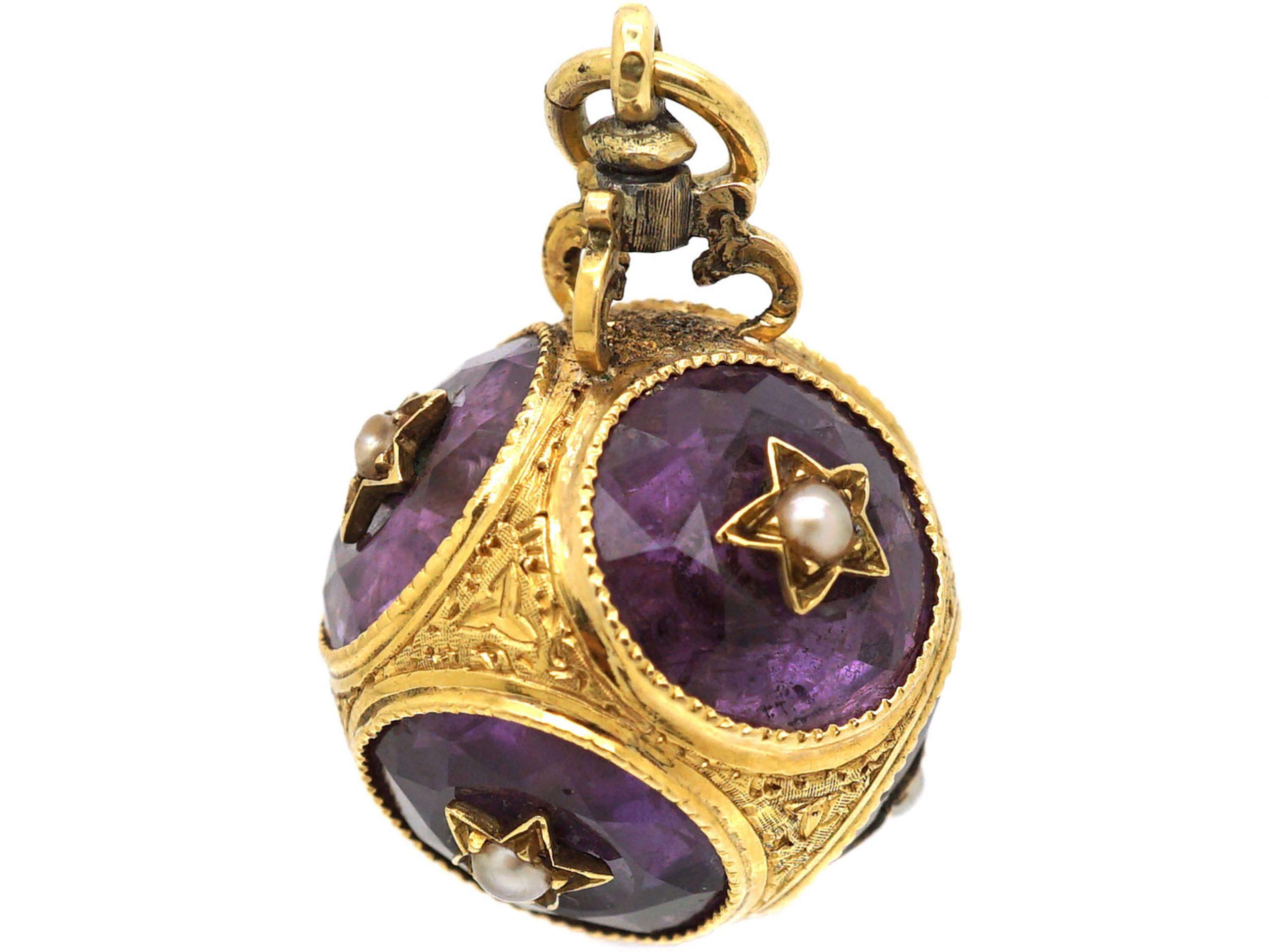 Victorian 15ct Gold, Amethyst & Natural Split Pearl Ball Pendant