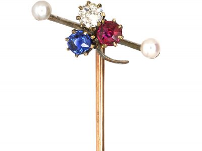 Edwardian Three Leaf Clover Sapphire, Diamond & Ruby Tie Pin with a Natural Pearl at Either End
