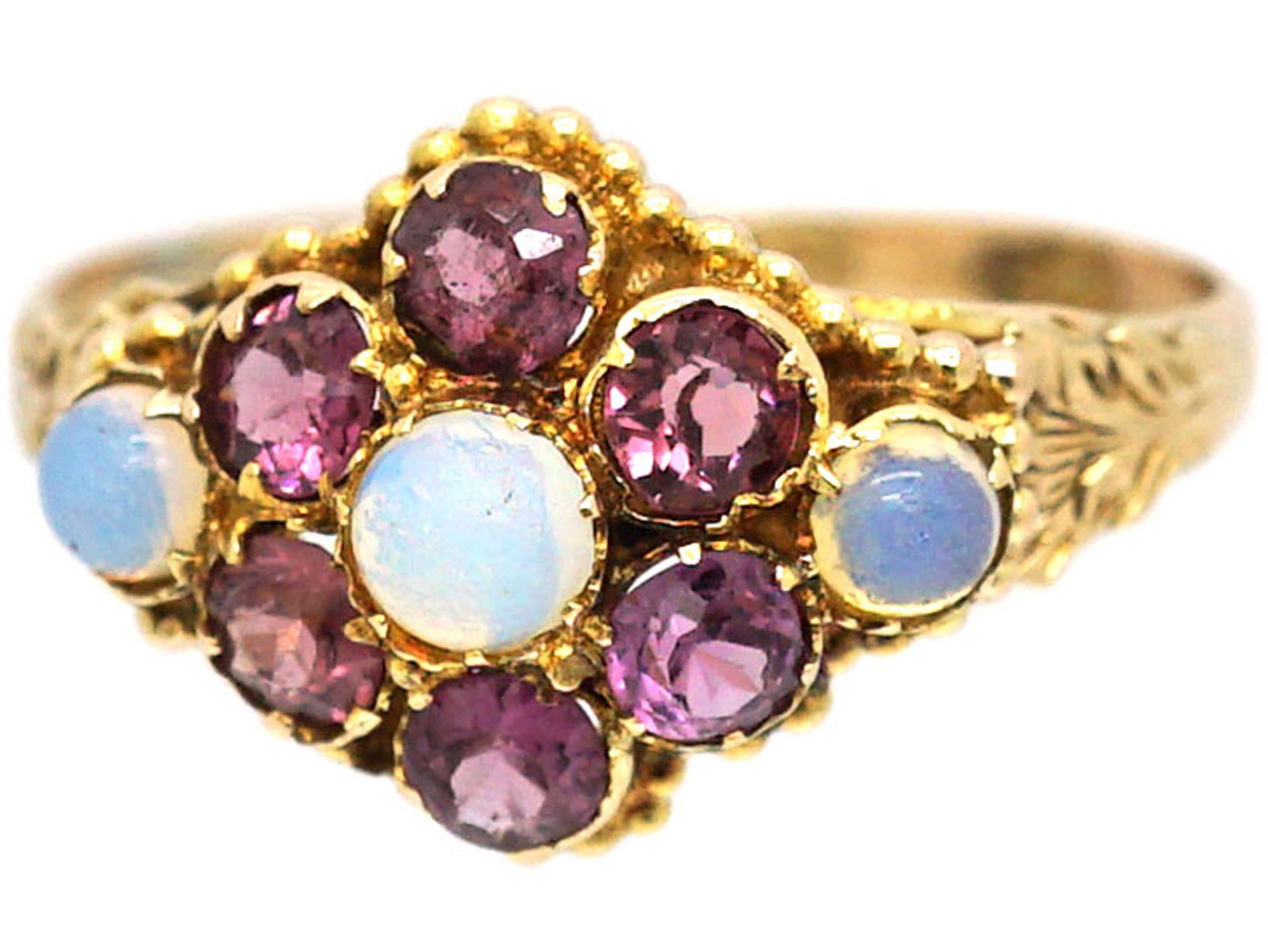 Regency 9ct Gold, Garnet & Opal Cluster Ring