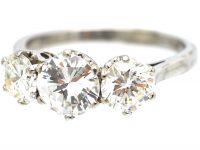 Art Deco 18ct White Gold, Three Stone Diamond Ring