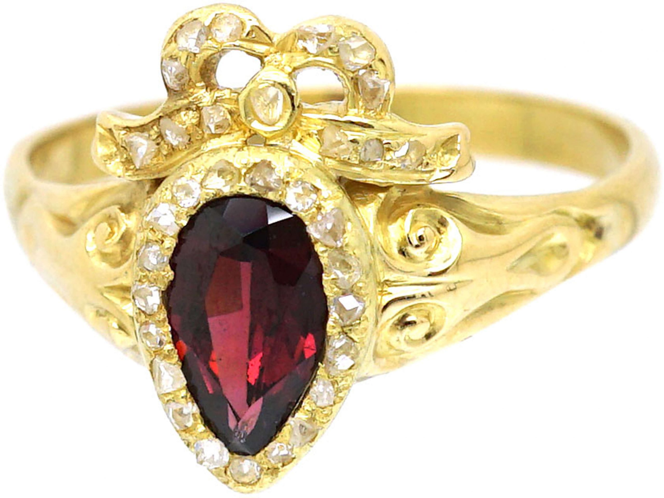 Victorian 18ct Gold, Almandine Garnet and Diamond Heart Shaped Ring in the Rococo Style