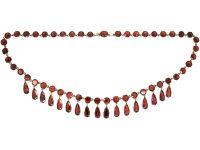 Edwardian 9ct Gold & Flat Cut Garnet Drops Necklace