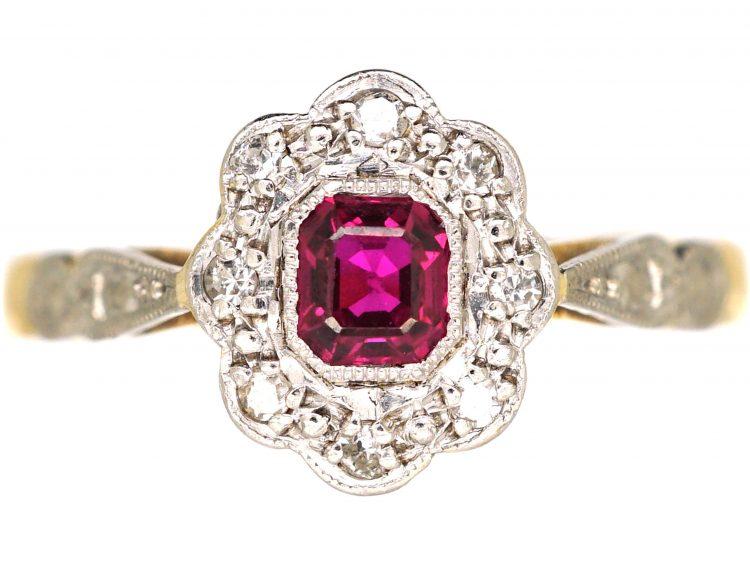 Art Deco 18ct Gold & Platinum, Ruby & Diamond  Cluster Ring with Platinum Shoulders