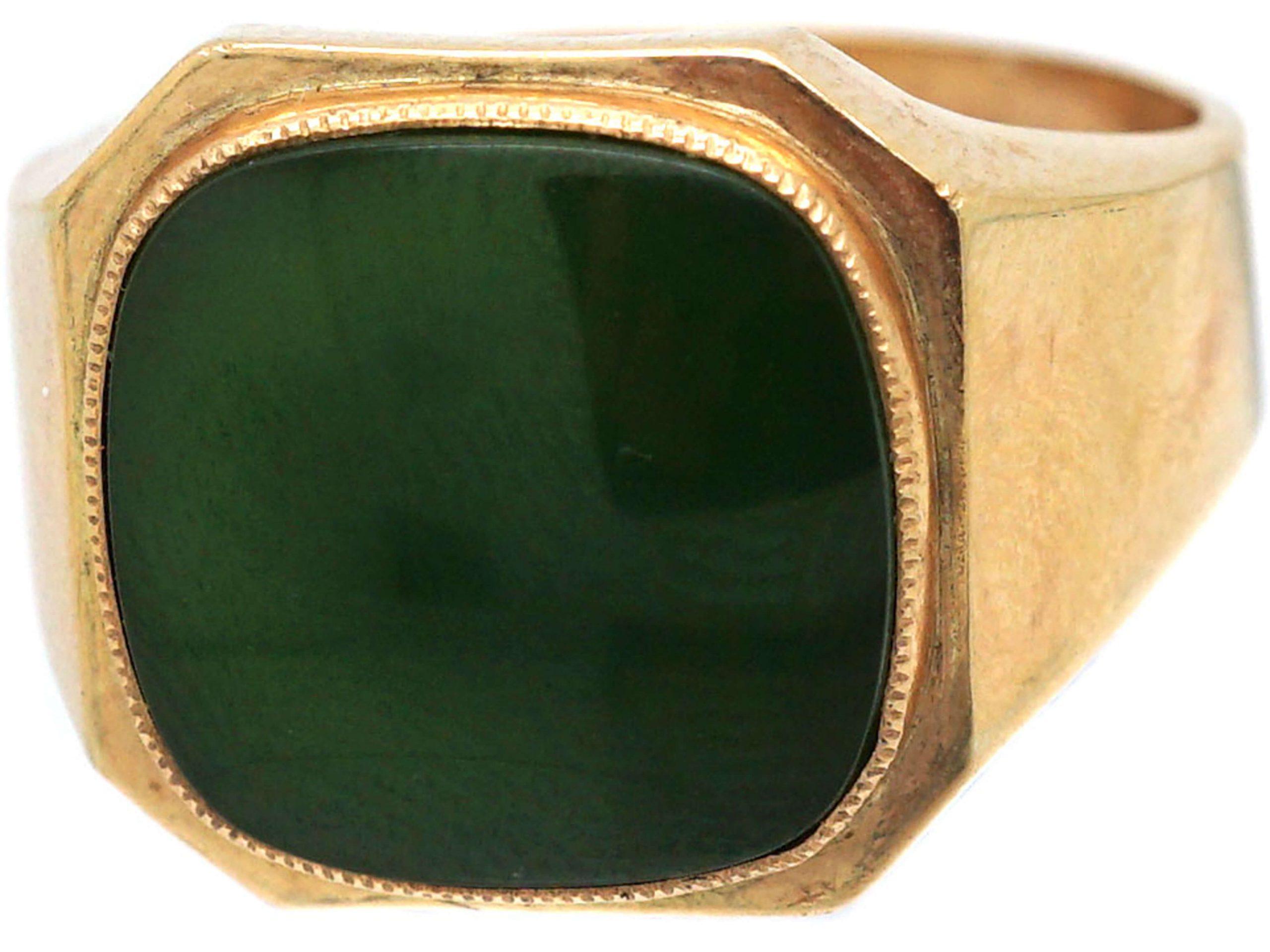 Retro 18ct Gold & Nephrite Signet Ring