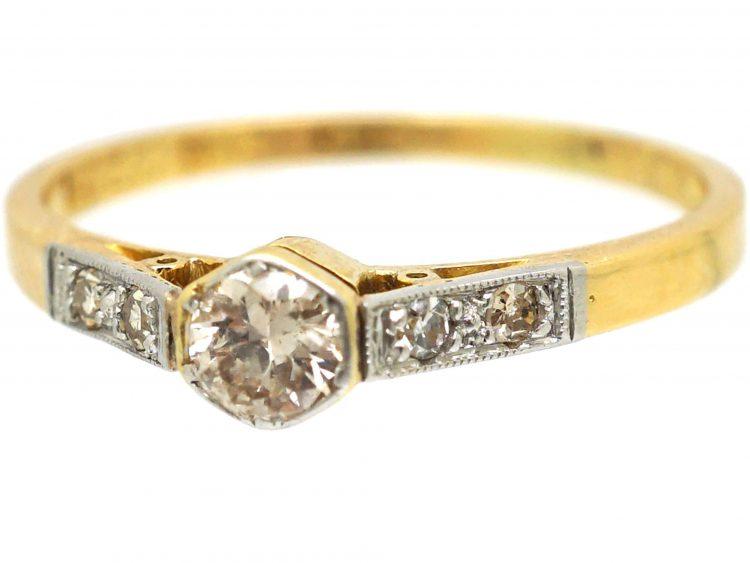 Art Deco 18ct Gold & Platinum Diamond Solitaire Ring with Diamond Set Shoulders