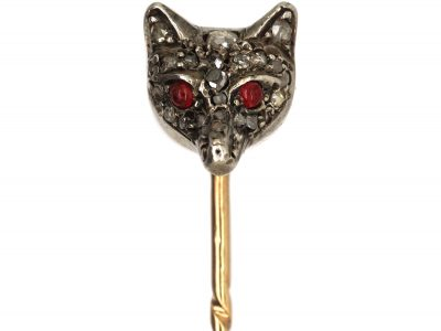 Edwardian Fox Head Tie Pin Studded with Rose Diamonds & Ruby Eyes