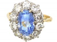 1950's 18ct Gold, Large Sapphire & Diamond Oval Cluster Ring