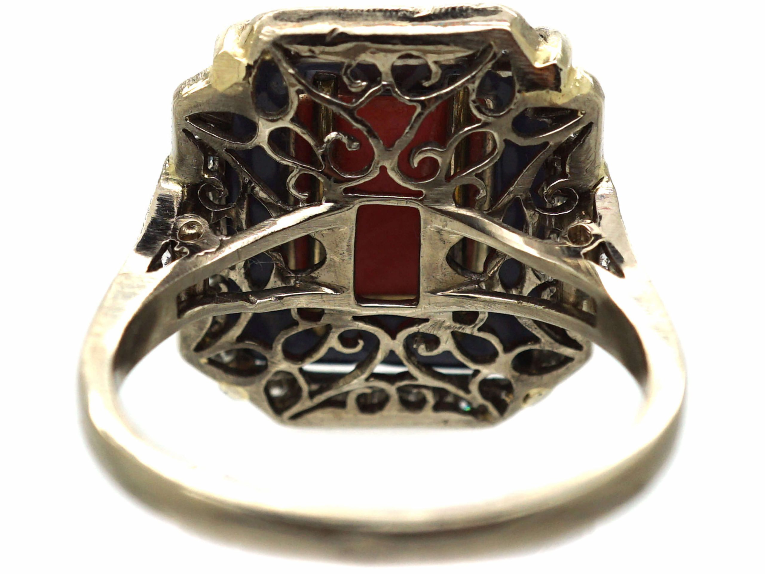 Art Deco 18ct White Gold Coral, Onyx and Diamond Ring