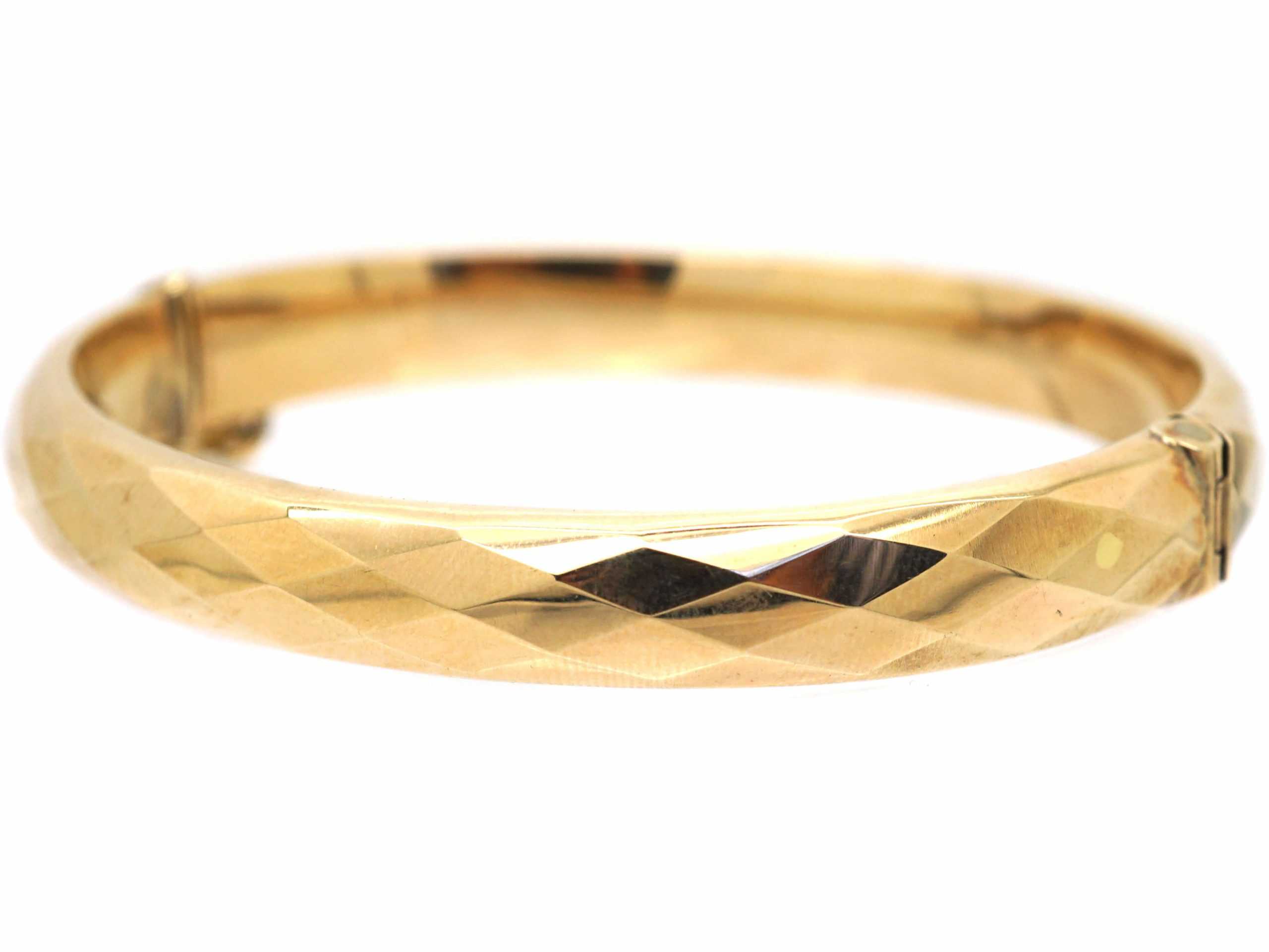 Retro 9ct Gold Faceted Bangle
