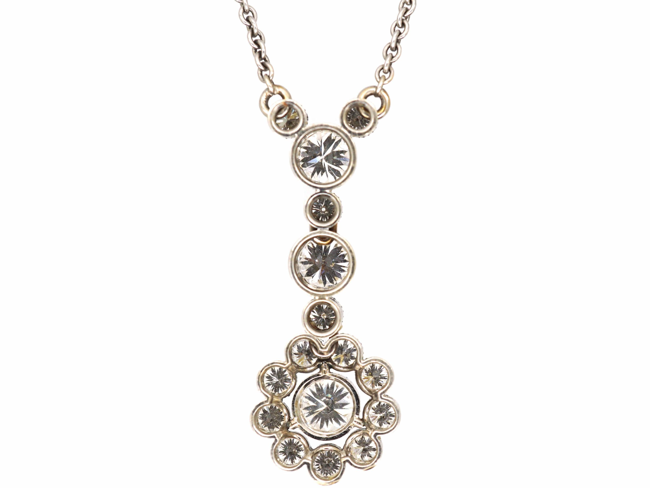 Edwardian 18ct White Gold Diamond Cluster Drop Pendant on Chain