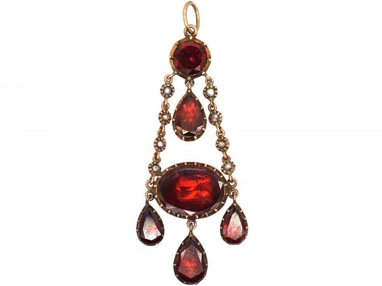 Victorian 9ct Gold Garnet and Natural Split Pearl Drop Pendant