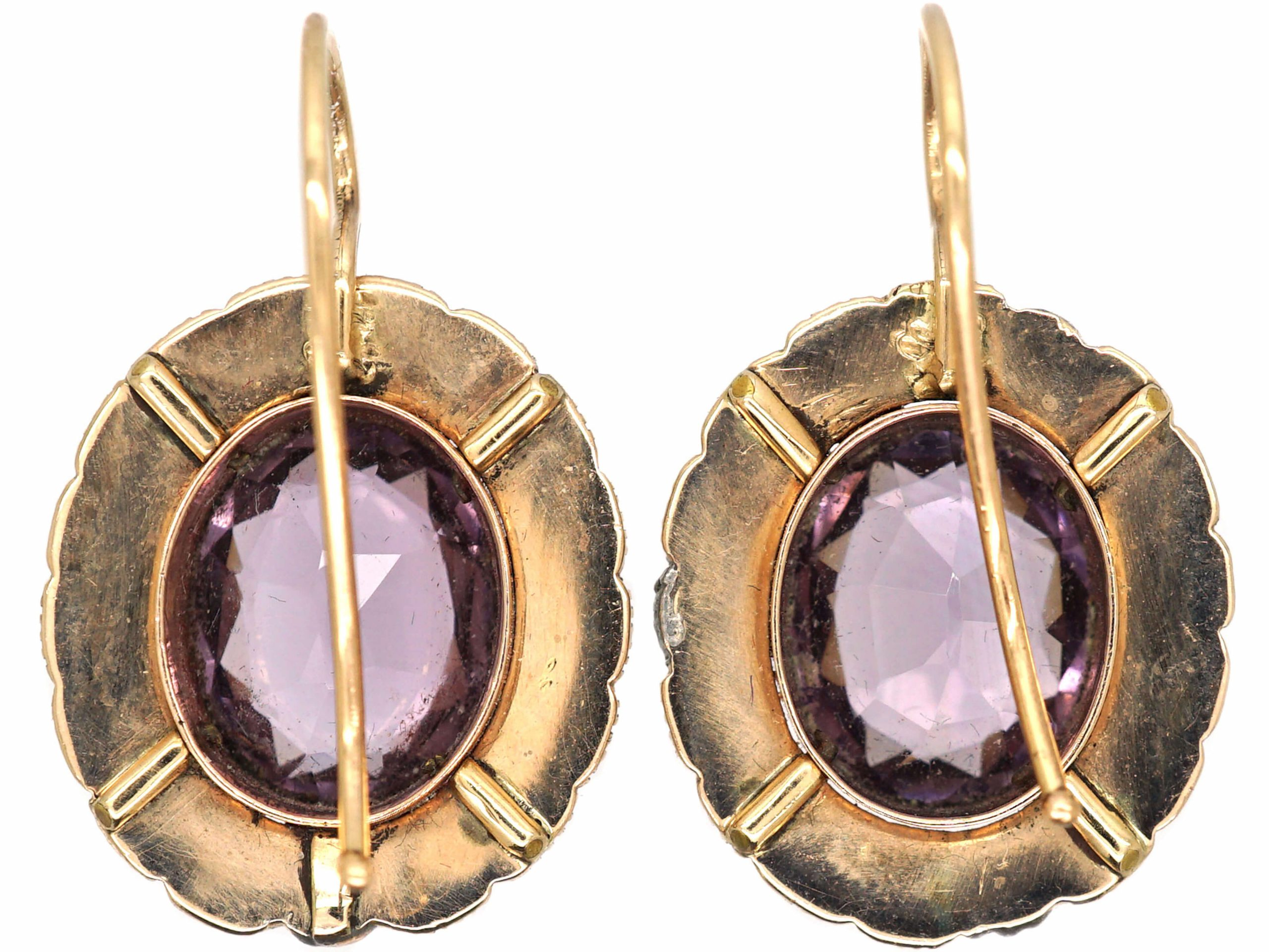 Early Victorian 9ct Gold, Amethyst & Natural Split Pearl Earrings