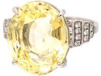 Platinum, Large Yellow Sapphire & Diamond Ring