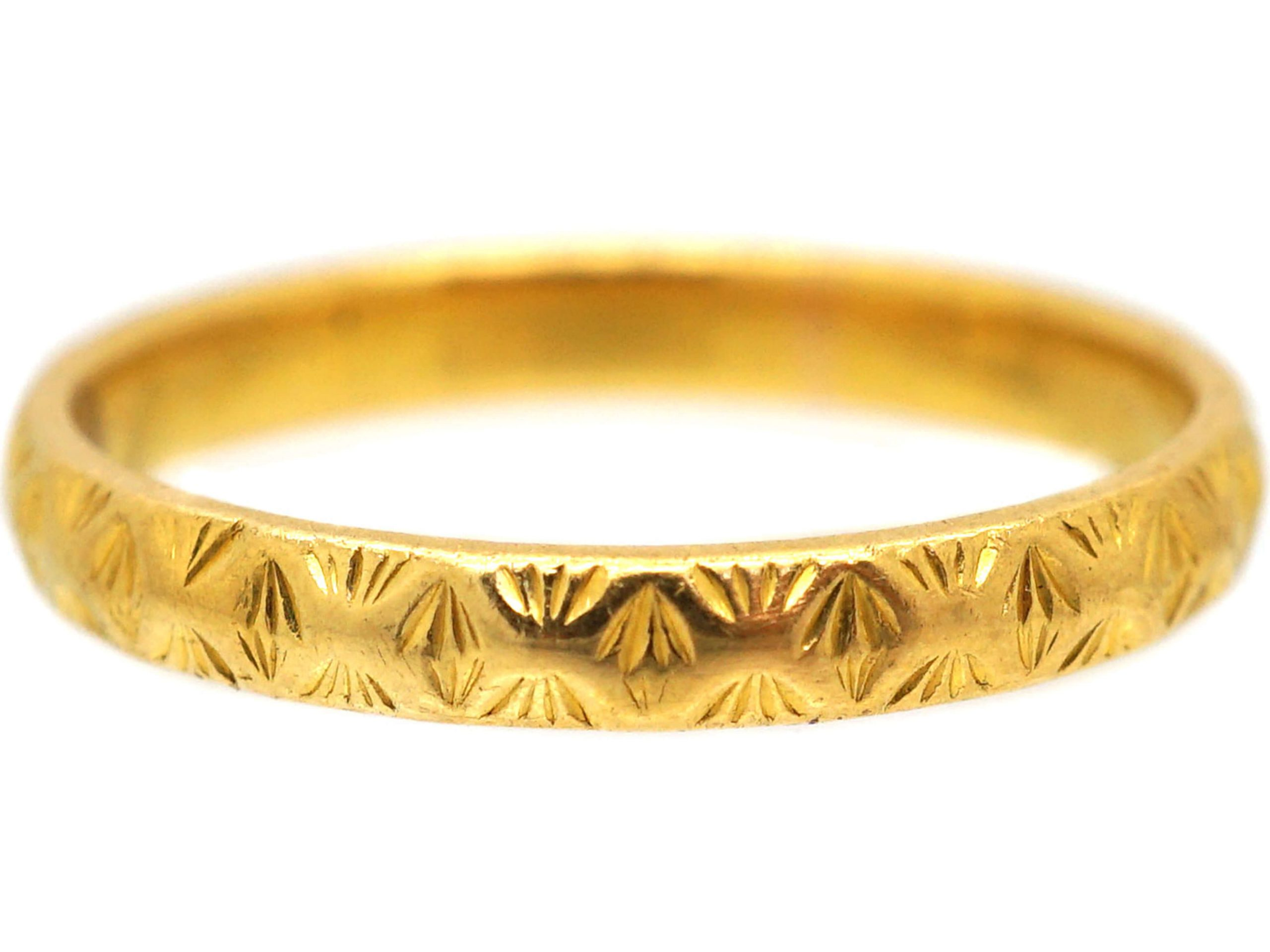 Art Deco 22ct Gold Wedding Ring with Ornate Decoration
