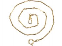Edwardian 9ct Gold Chain with Bar & Trace Links & Dog Clip