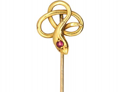 Edwardian 15ct Gold Snake Tie Pin set with a Ruby