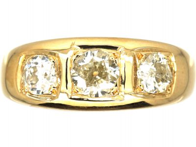 Edwardian 18ct Gold Three Stone Diamond Ring with Square Design Settings